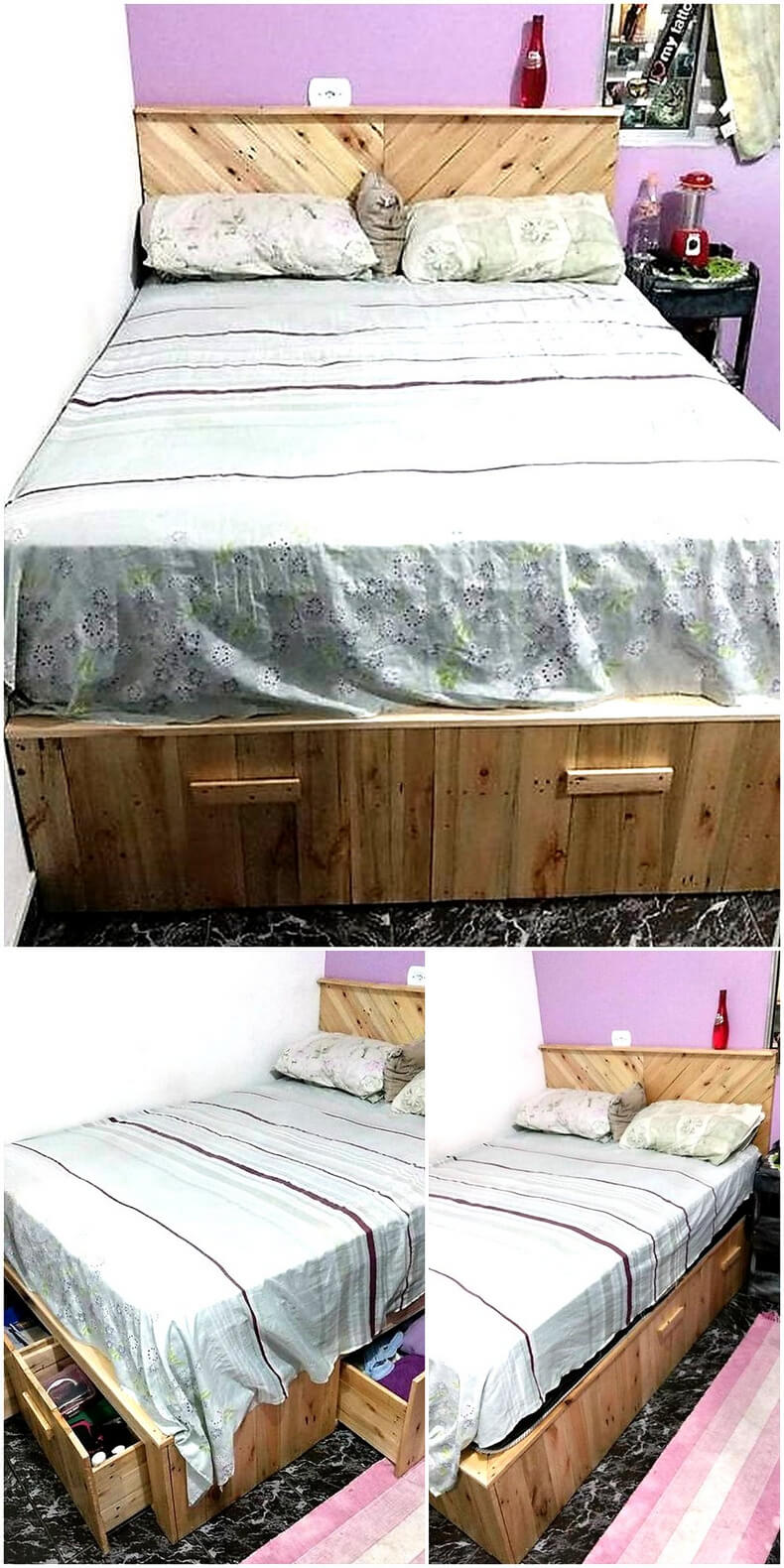 reused wood pallet bed