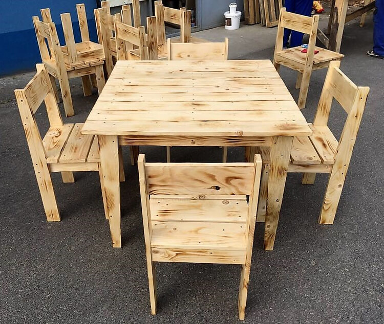 Pallet Kitchen Chairs: Simple Furniture Set Made With Pallets Wood