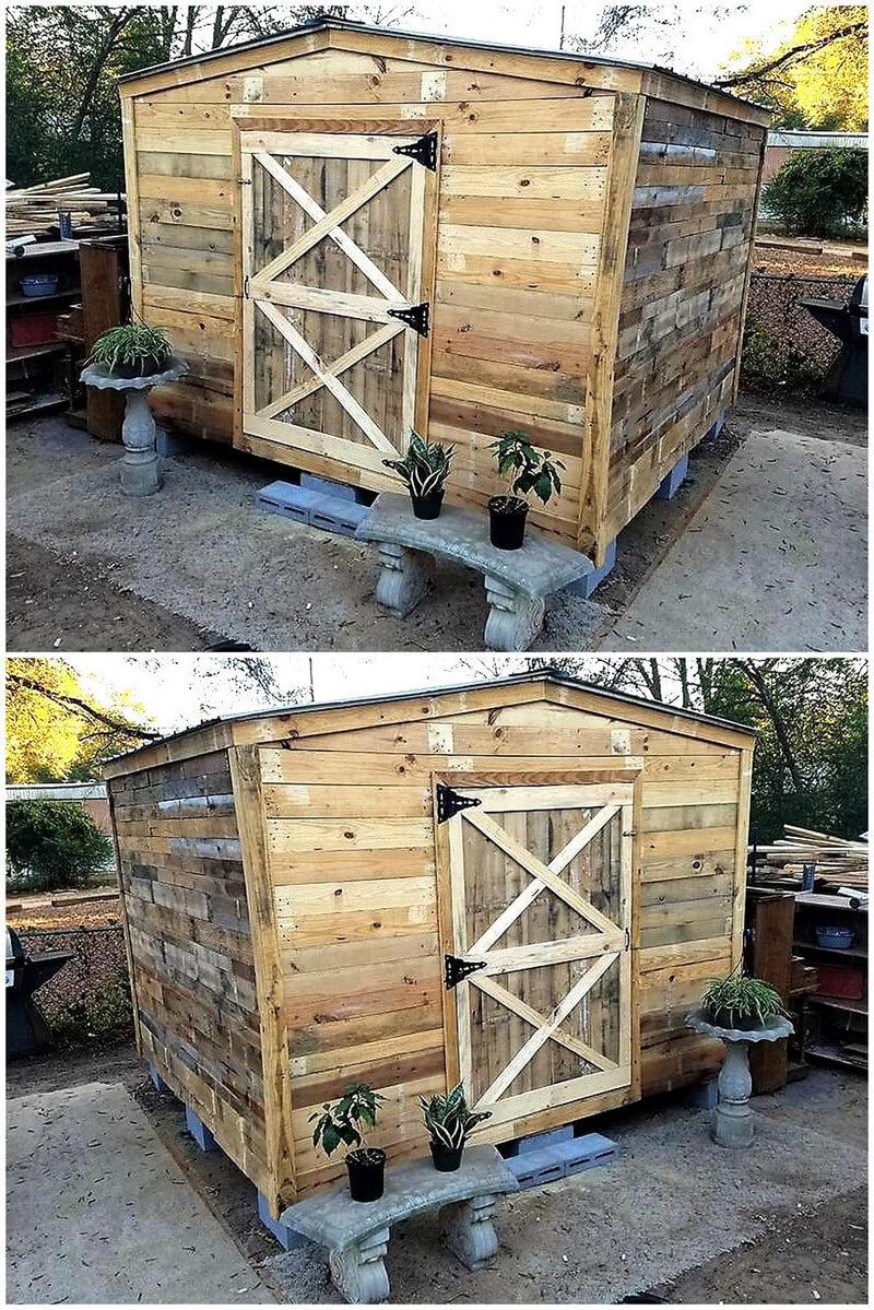 wood pallet garden shed cabin