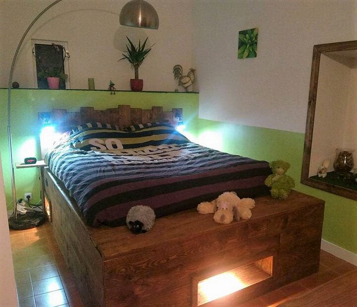 diy pallet bed with lights