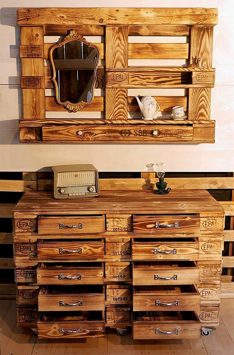 pallet chest of drawers and wall art