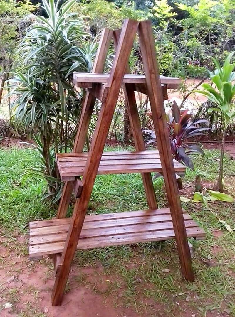 pallet made pot planter rack