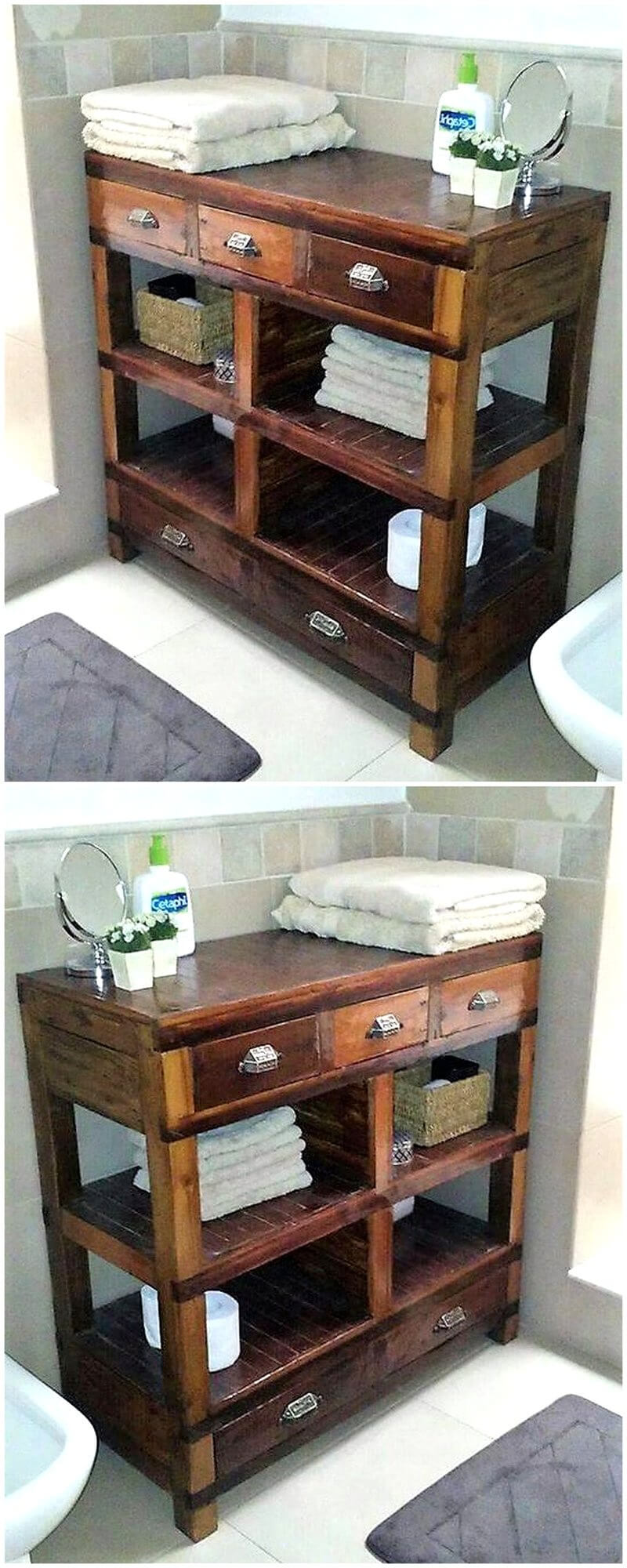pallet table for bathroom