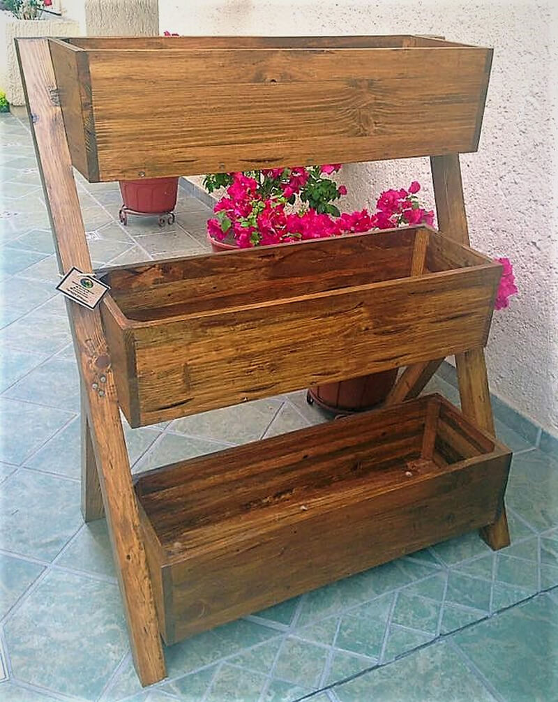 pallet wood multi tier planter