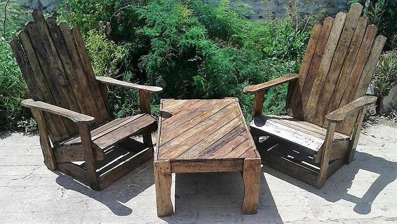 pallet wood patio chair set