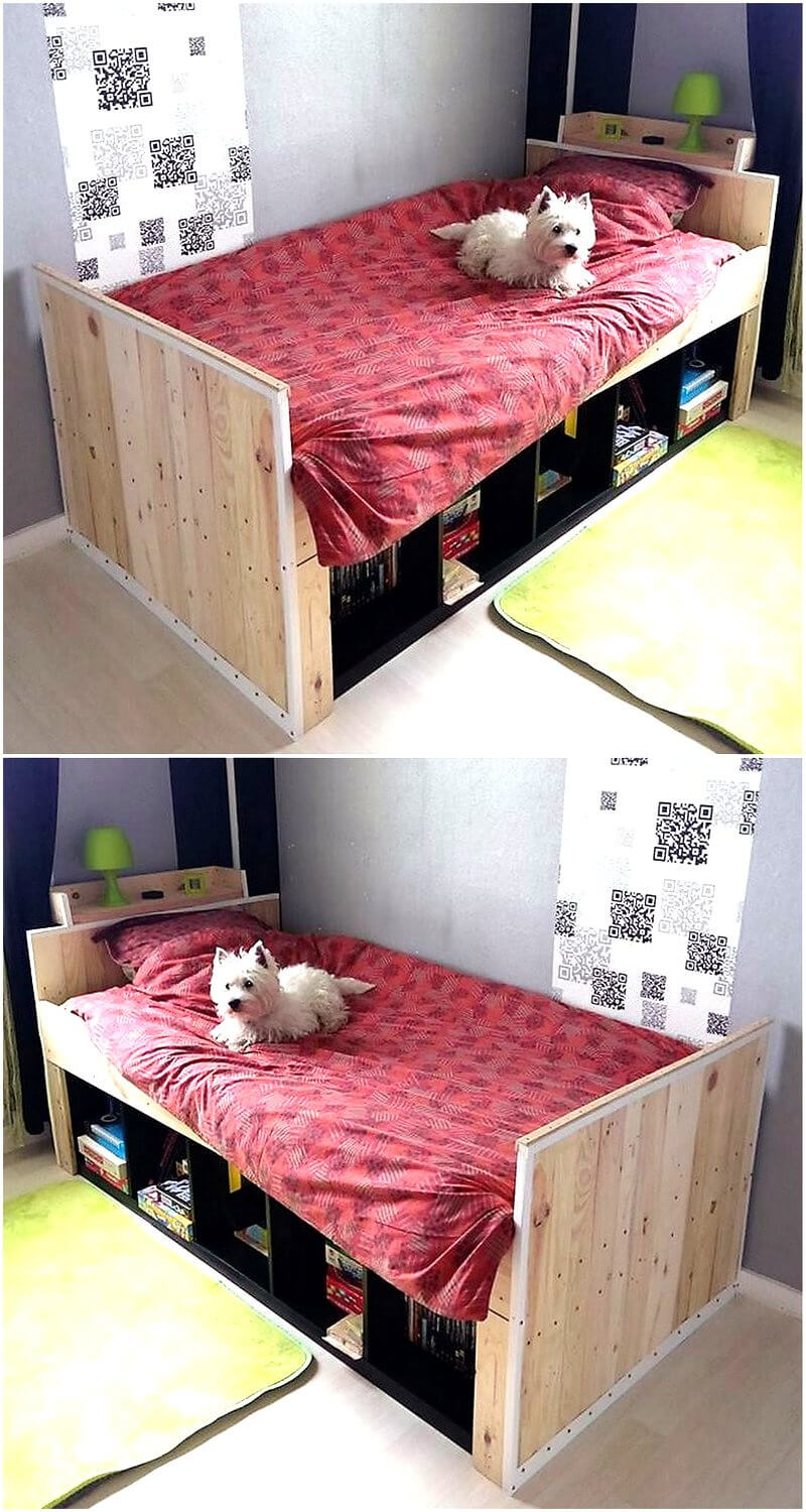 Diy motive ideas for wood pallets repurposing wood for Pallet bed with storage plans
