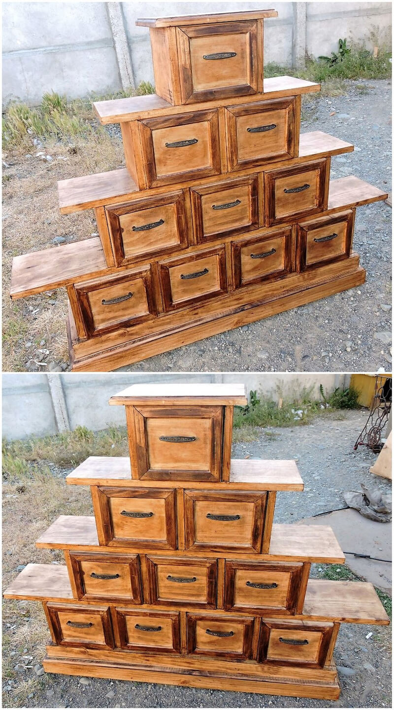 pallets chest cum shelving tree