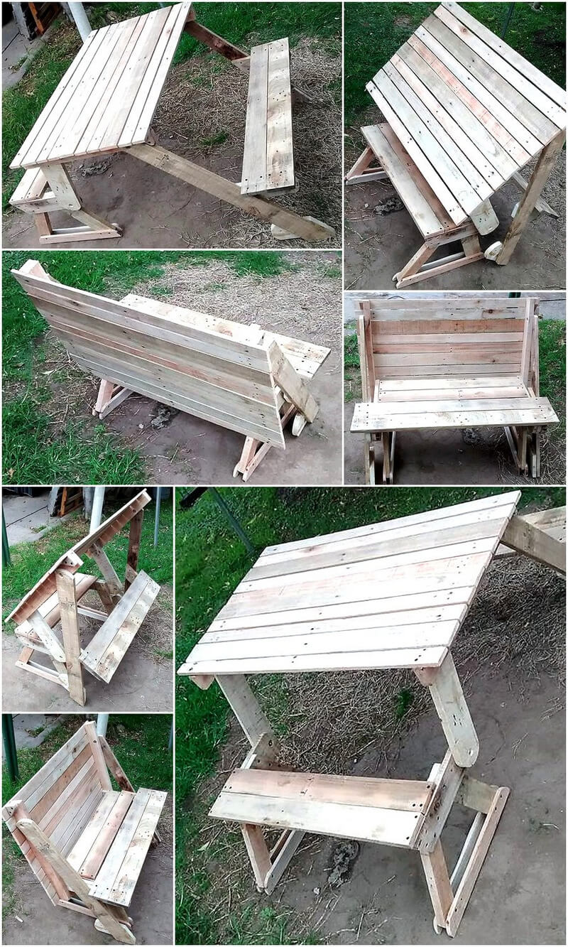 pallets folding bench cum picnic table