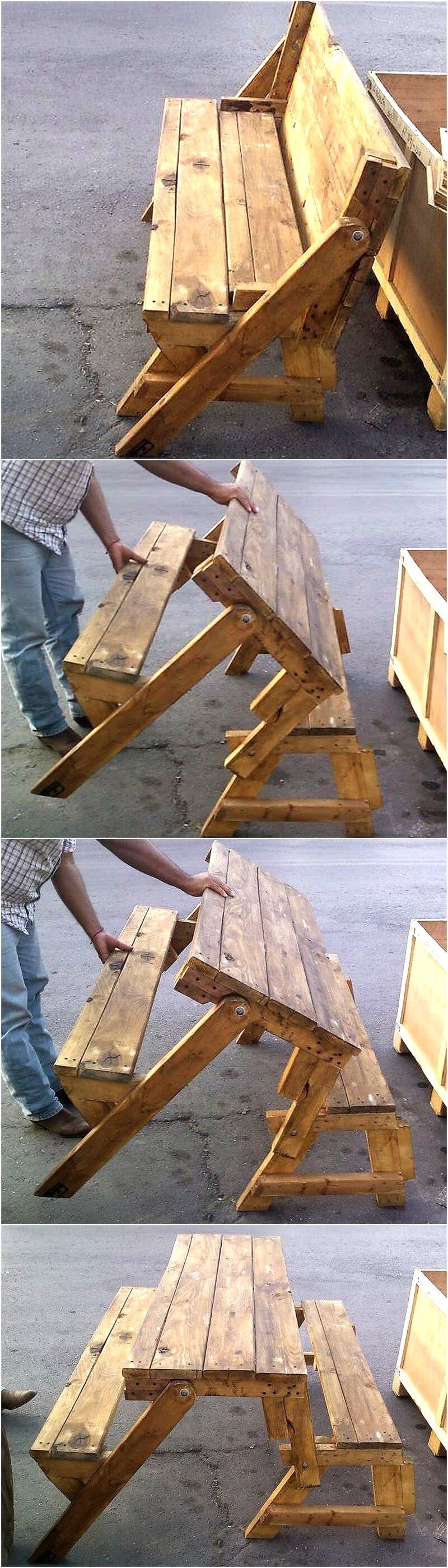 pallets folding bench cum table