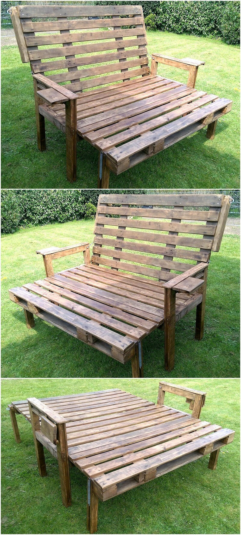 pallets folding bench idea for garden