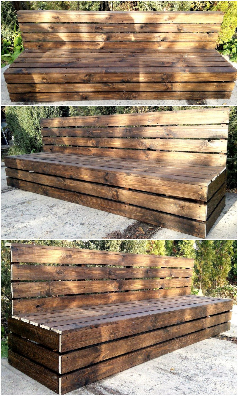 pallets giant garden bench