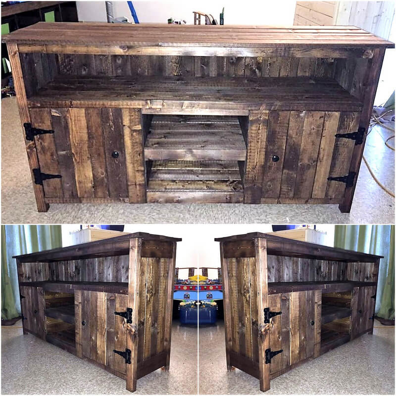 pallets made rustic tv stand