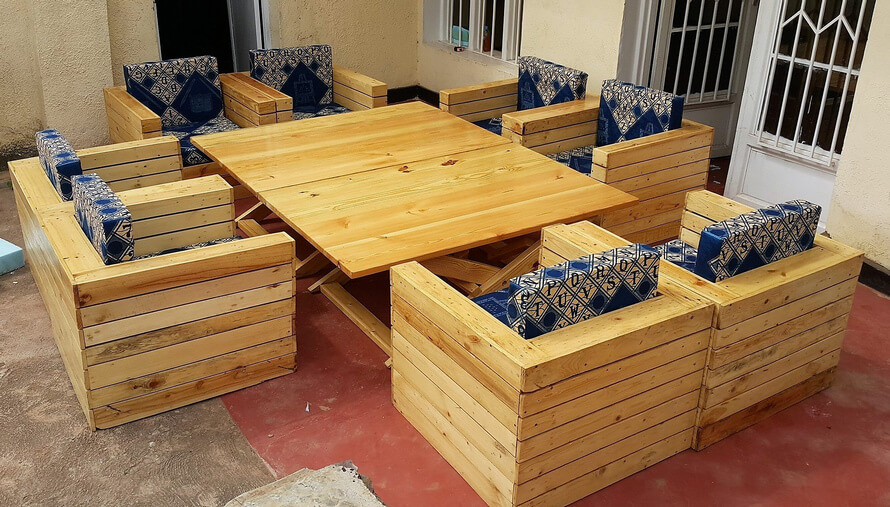 pallets pallet couch and table set
