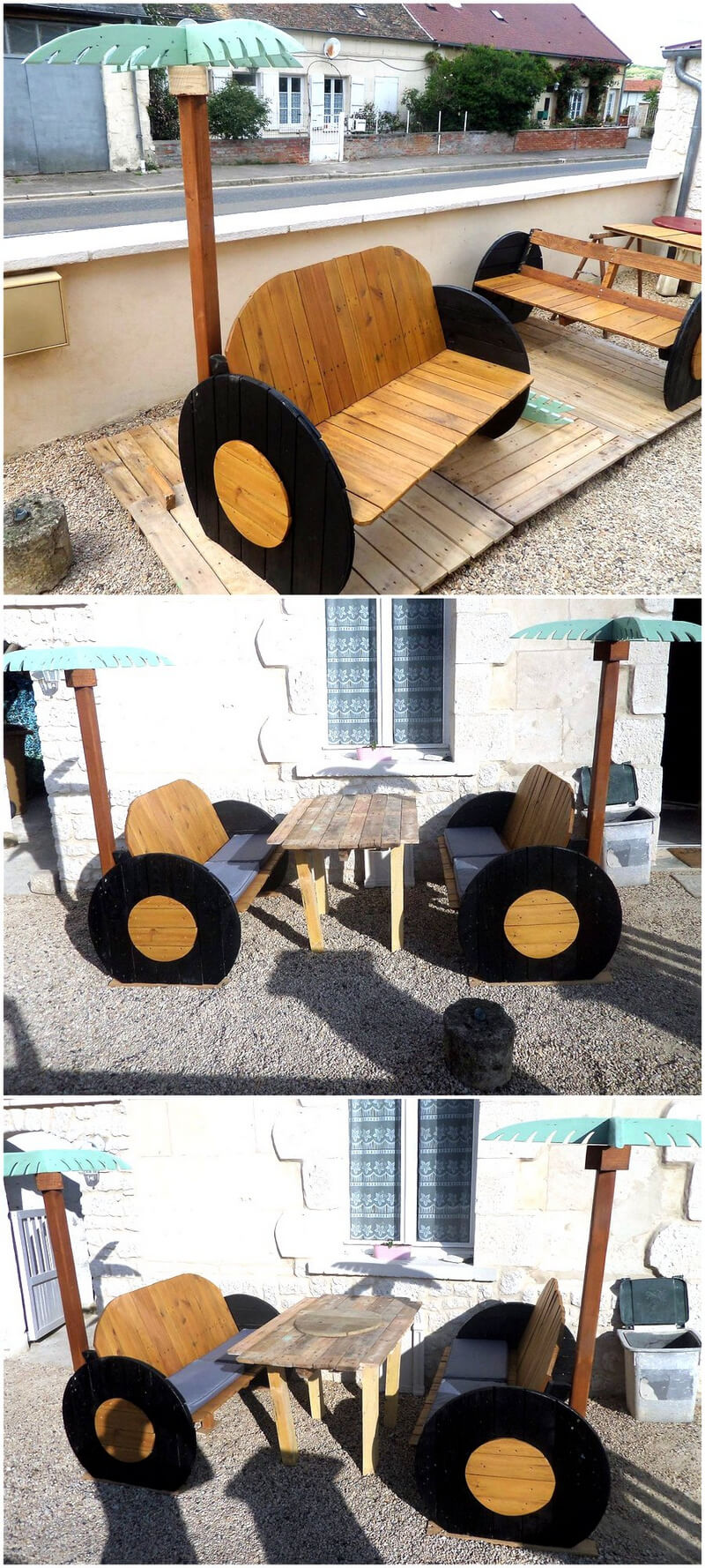 pallets plus cable spool patio benches
