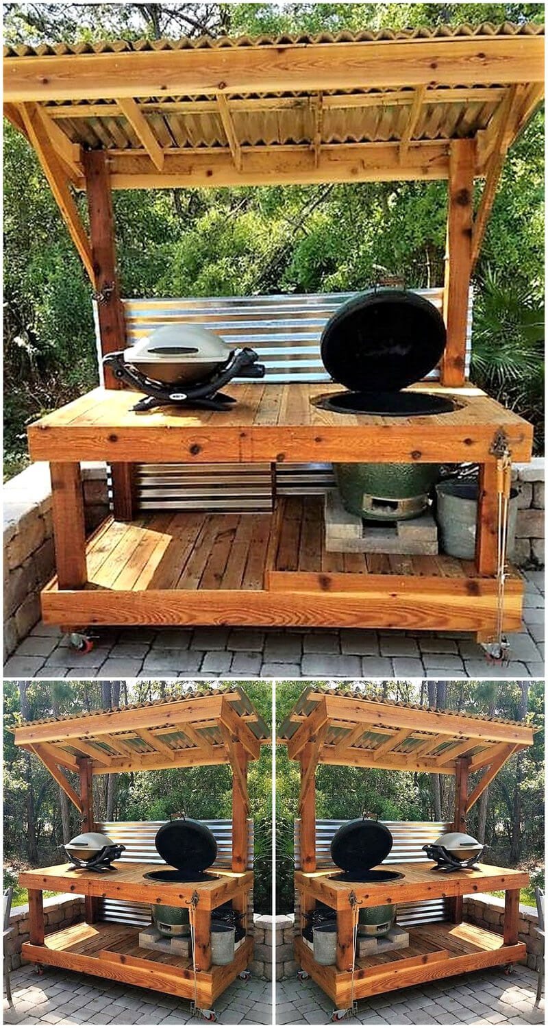 reclaimed pallets bbq island