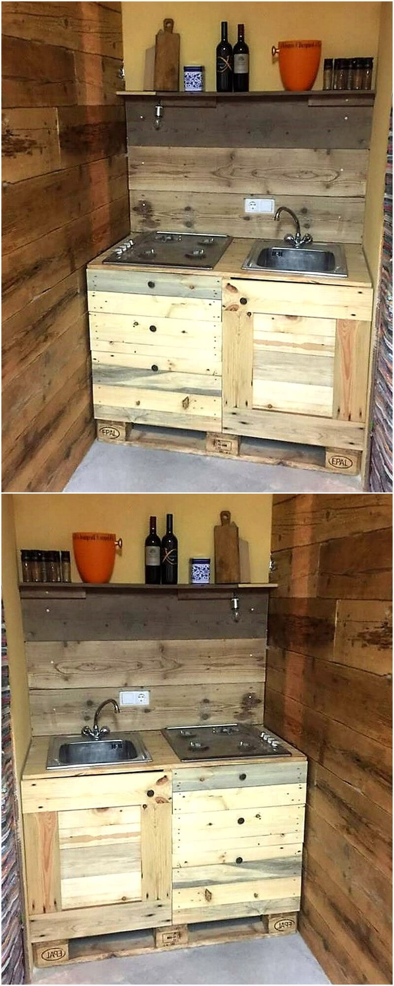 reclaimed wood pallet sink