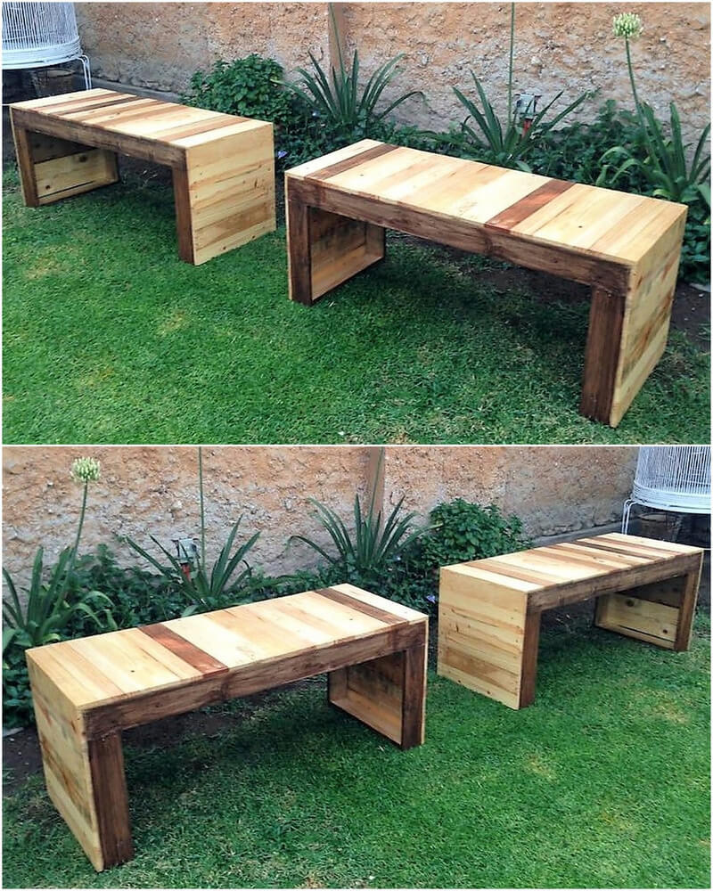 recycled pallet wood garden benches