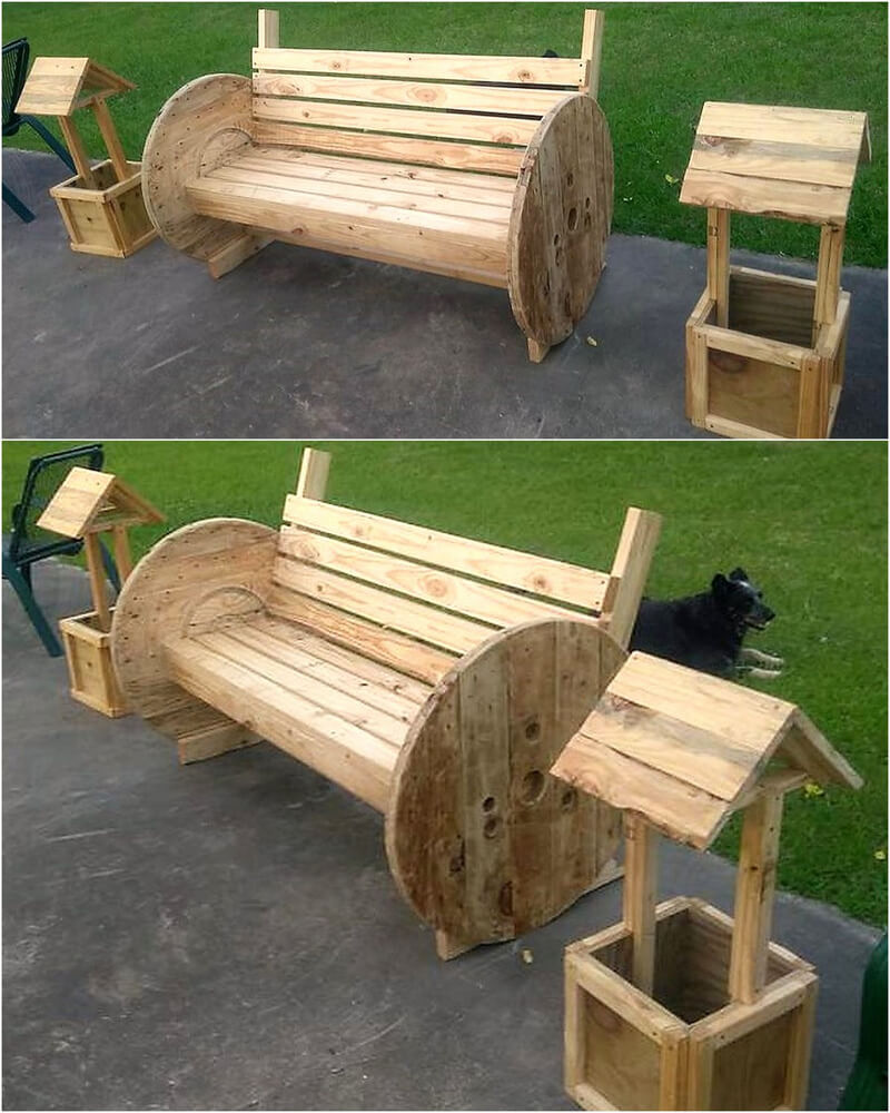 recycled pallets and cable reel furniture and crafts
