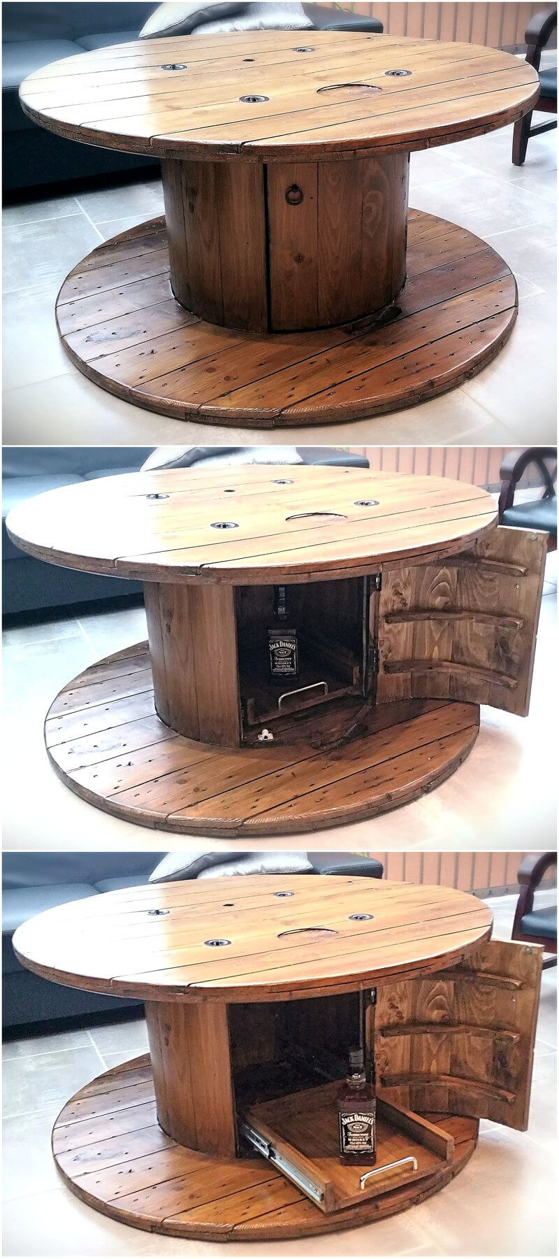 Diy motive ideas for wood pallets repurposing wood for Wooden cable reel ideas
