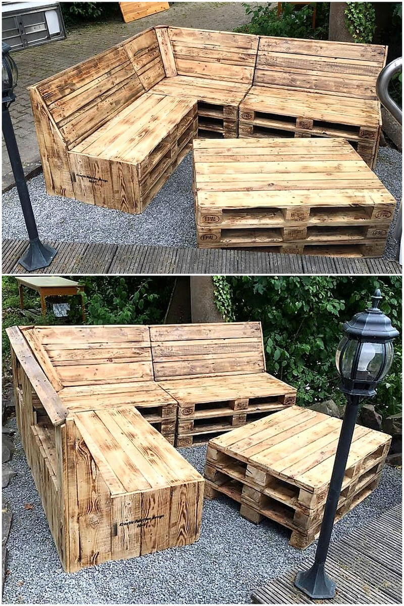 recycled pallets corner sofa