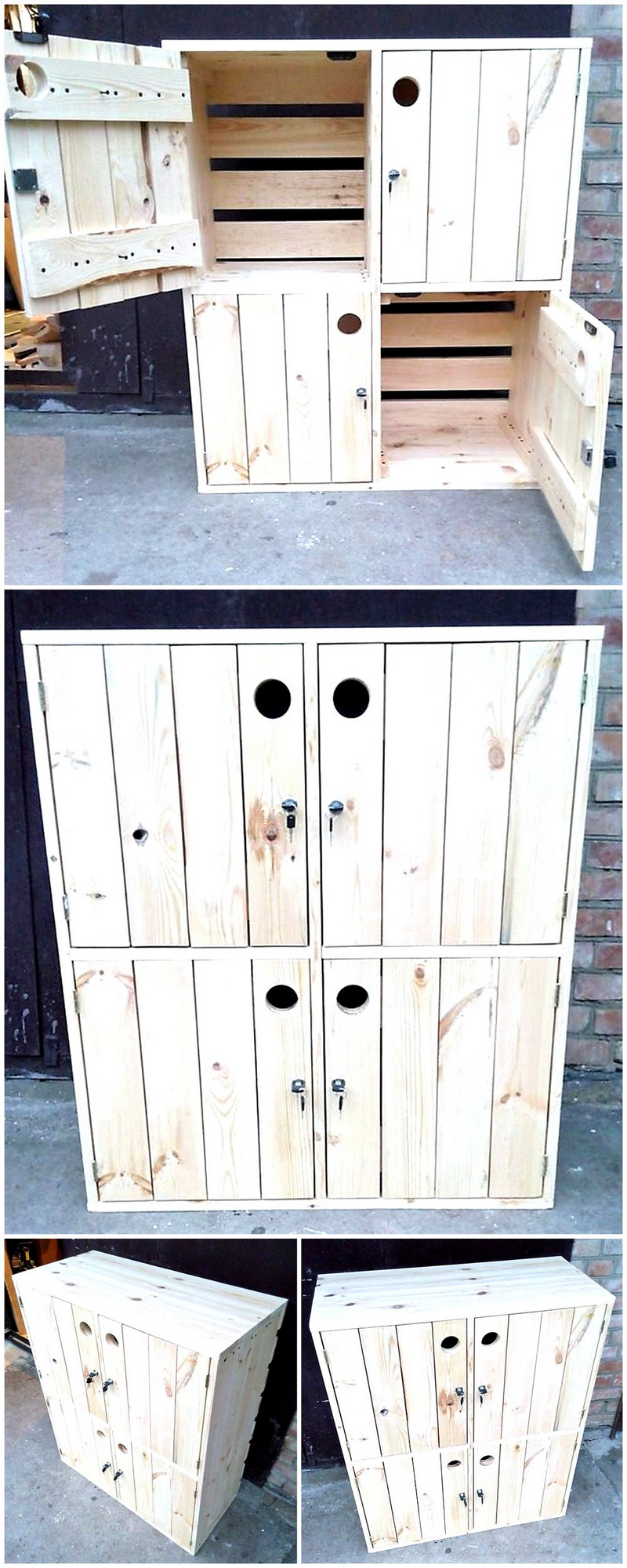 recycled pallets storage console