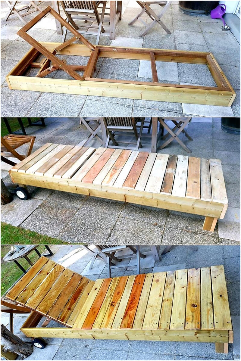 recycled pallets sun lounger diy