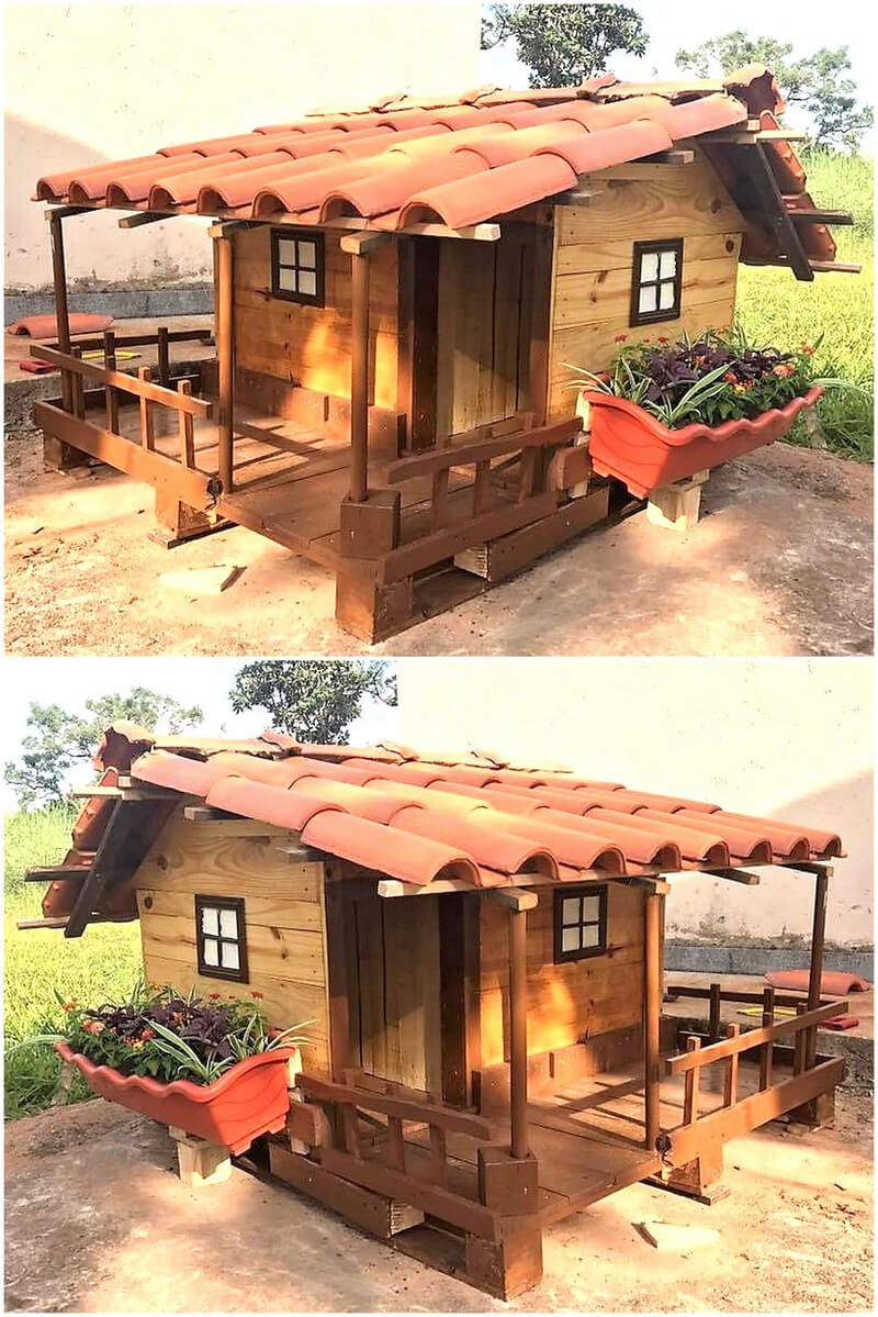 recycled pallets wooden dog house