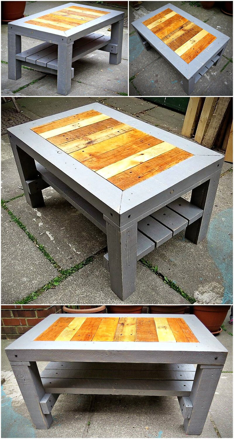 recycled pallets wooden table plan