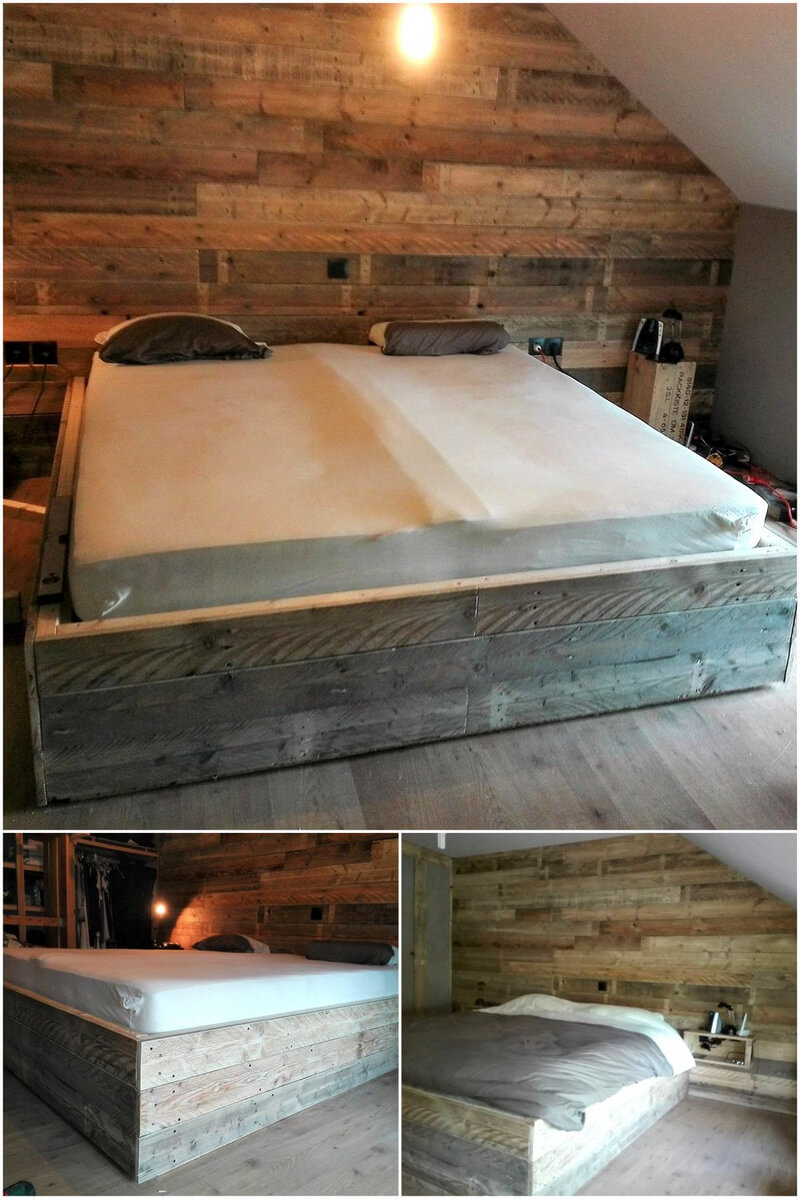 recycled wood pallet bed with wall art
