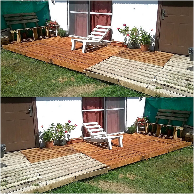 recycled wood pallet garden deck
