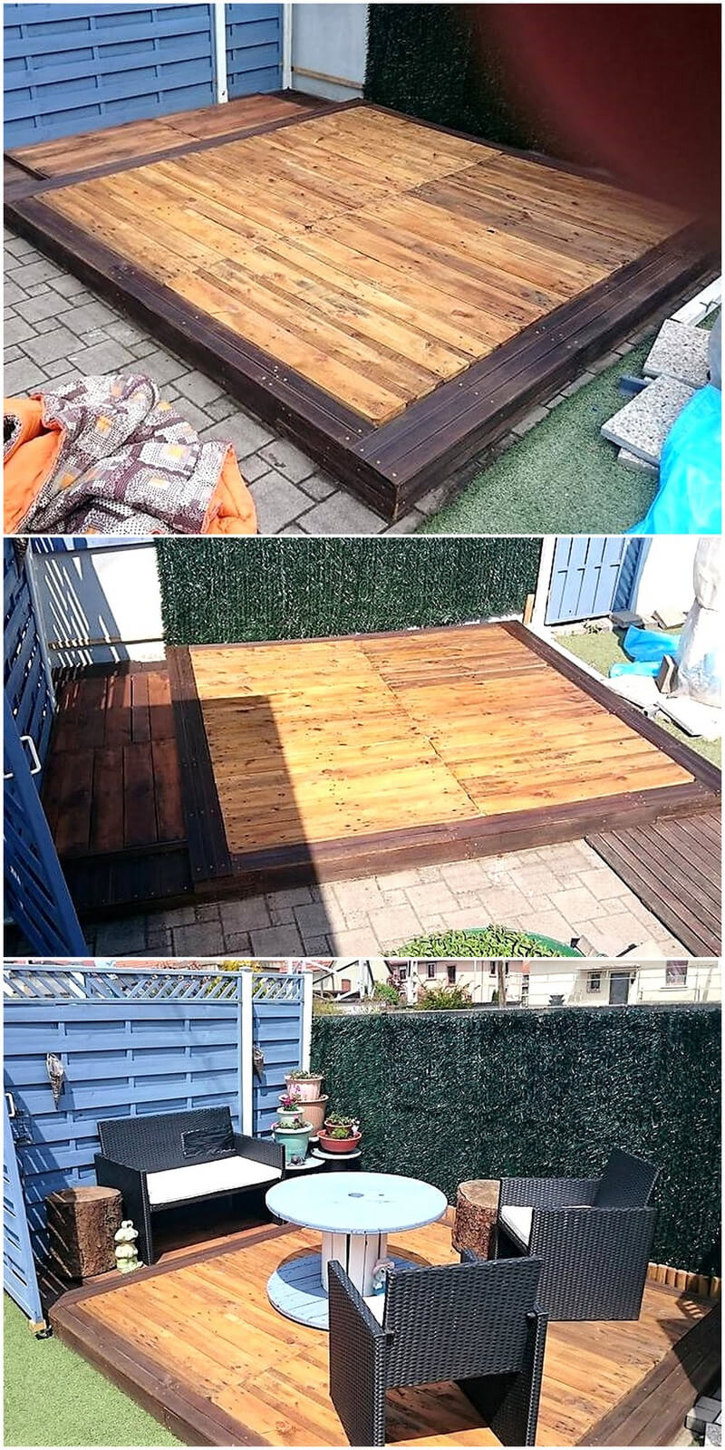 recycled wood pallet patio terrace