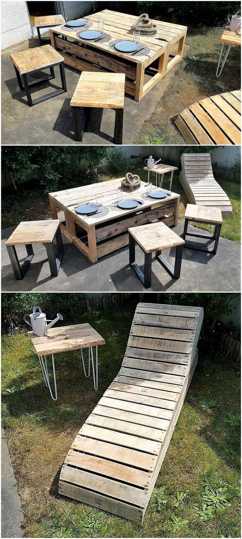 repurposed wood pallet outdoor furniture