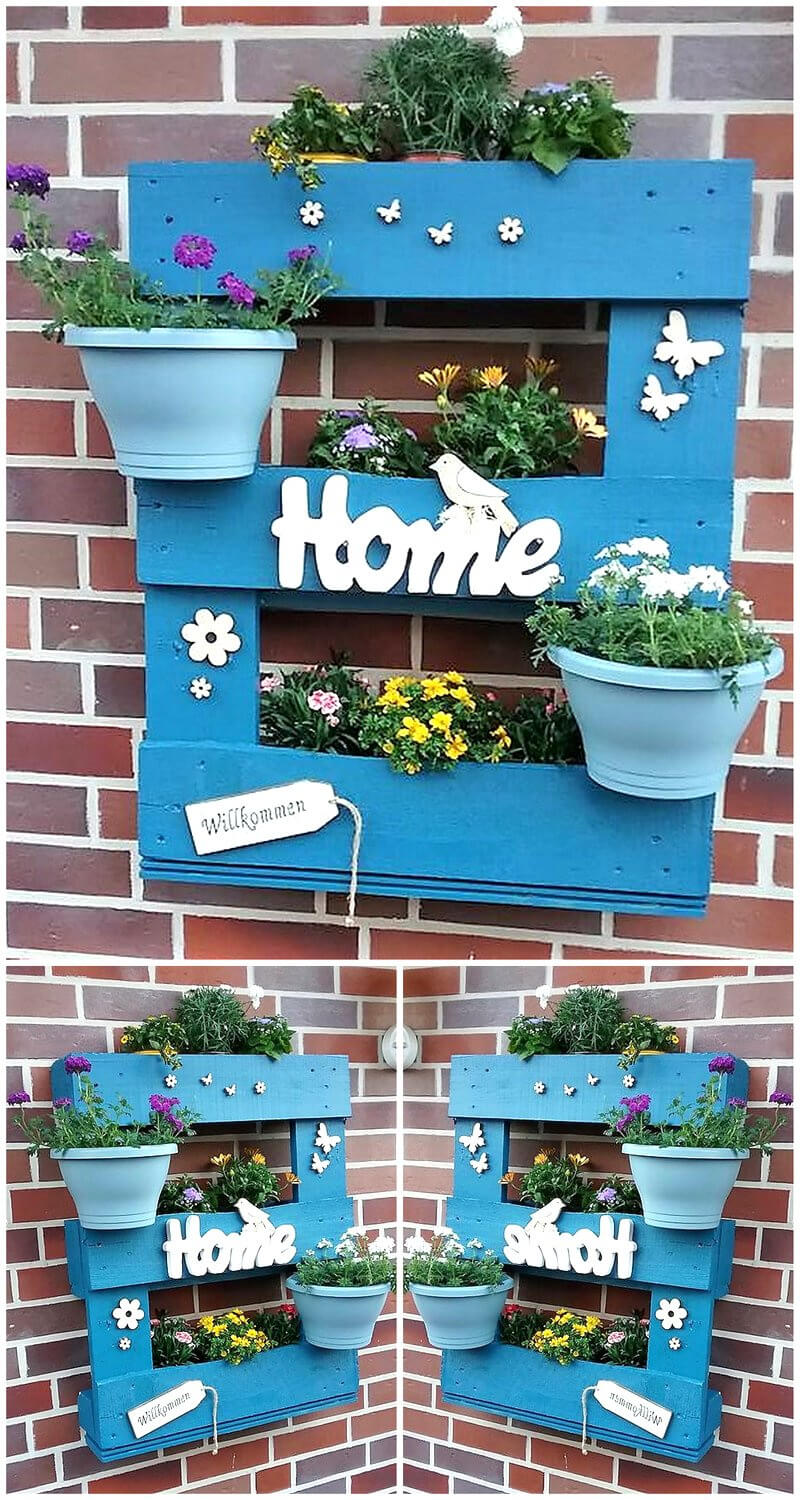 reused wood pallet wall planter