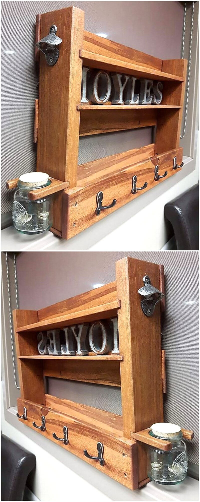 upcycled wood pallet shelf