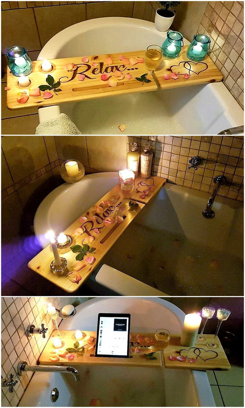 wood pallet Bath Bench for relaxing