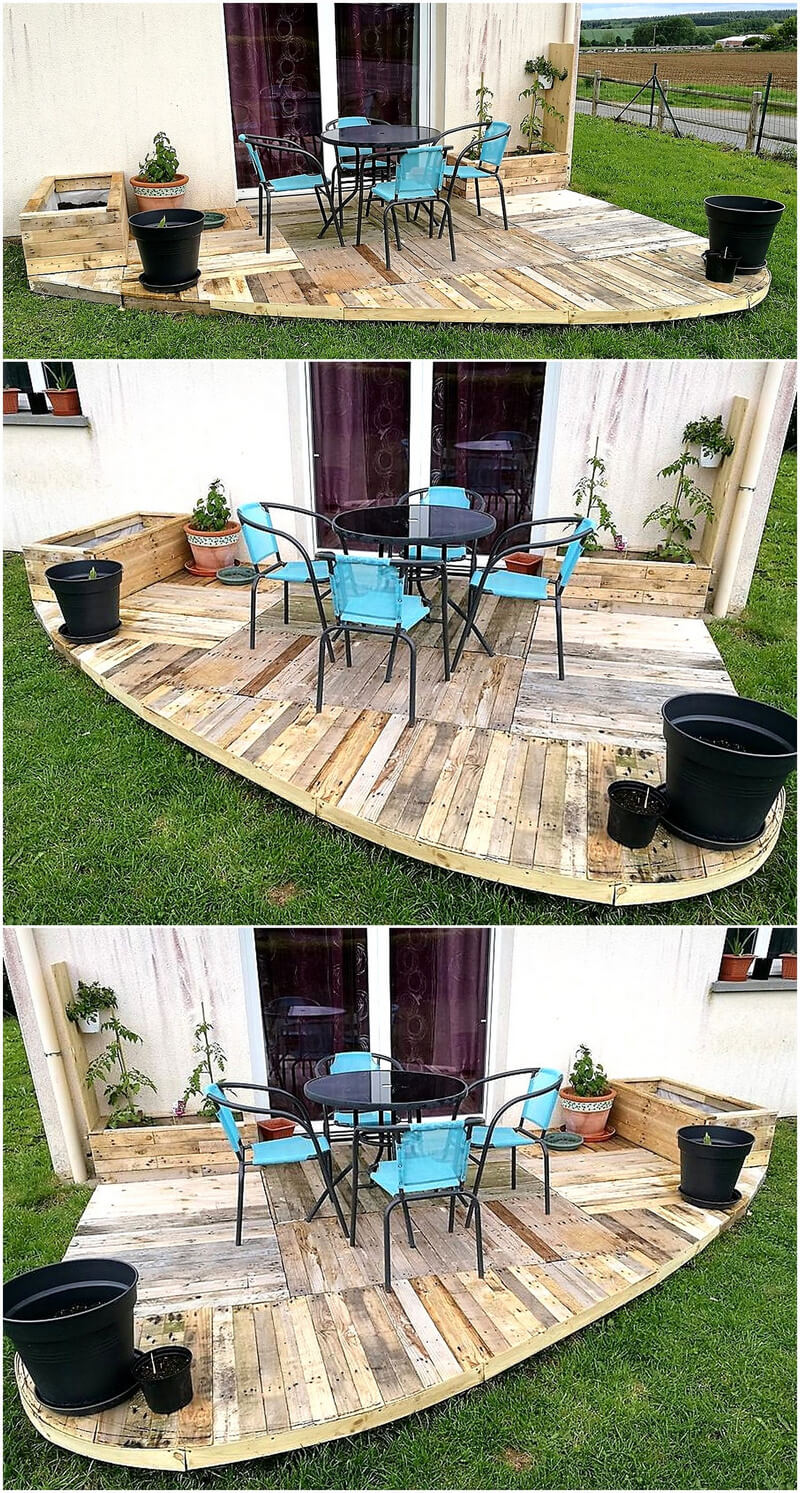 wood pallet garden deck with planters
