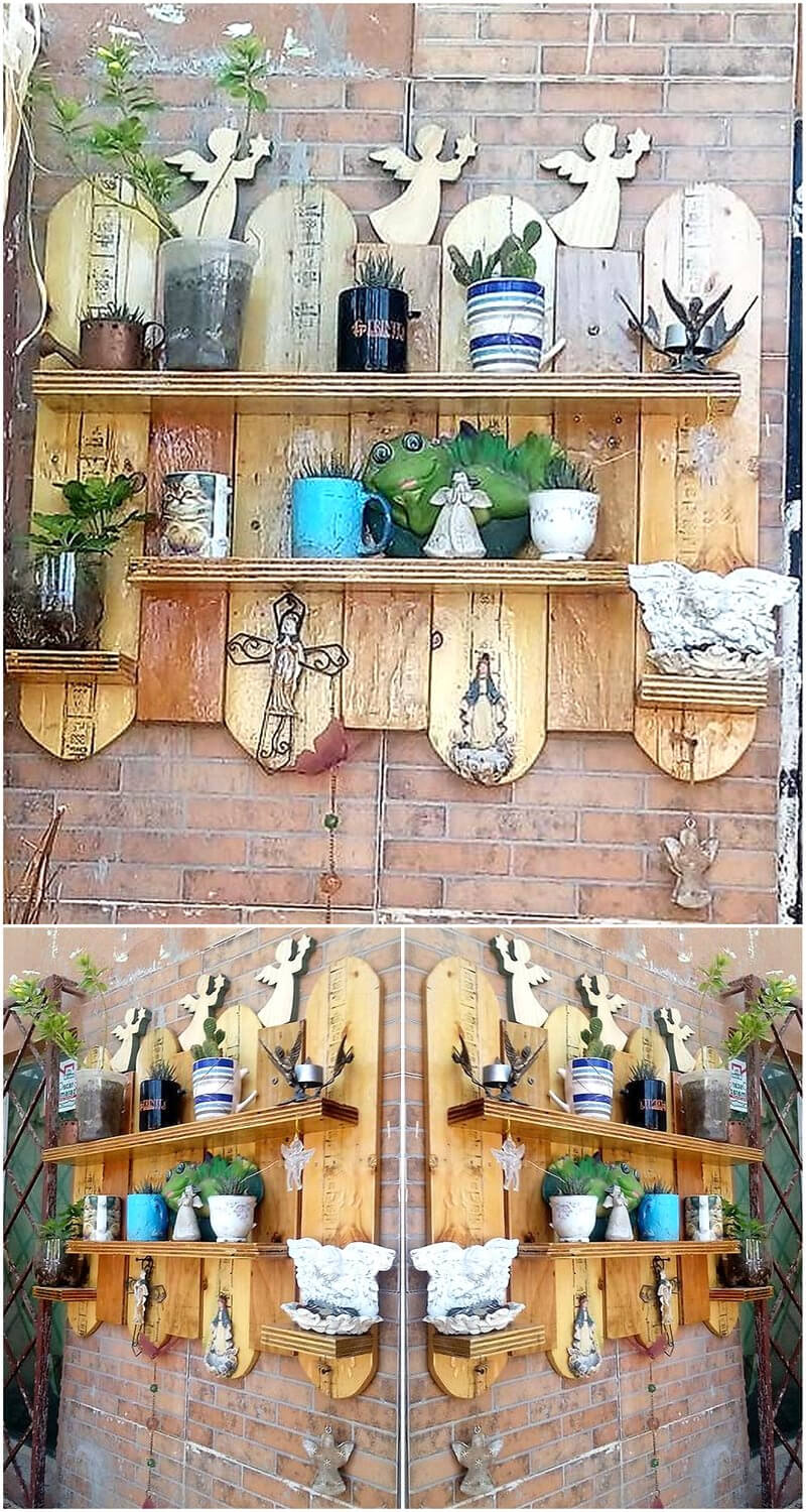 wood pallet patio wall decor shelf