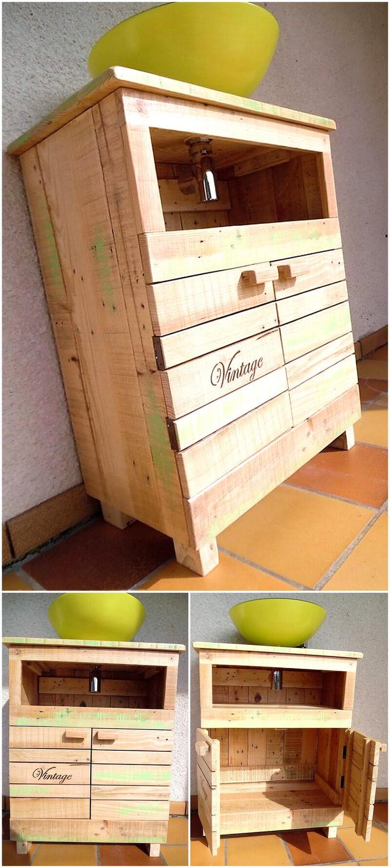 wood pallet sink cabinet
