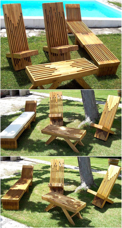 wood pallet sun bathing furniture