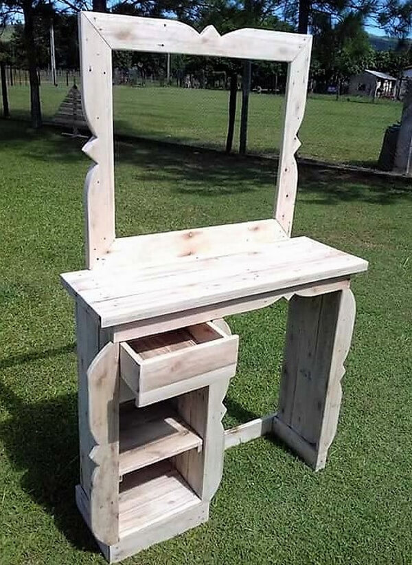 Rustic Vanity Out Of Wood Pallets Wood Pallet Furniture