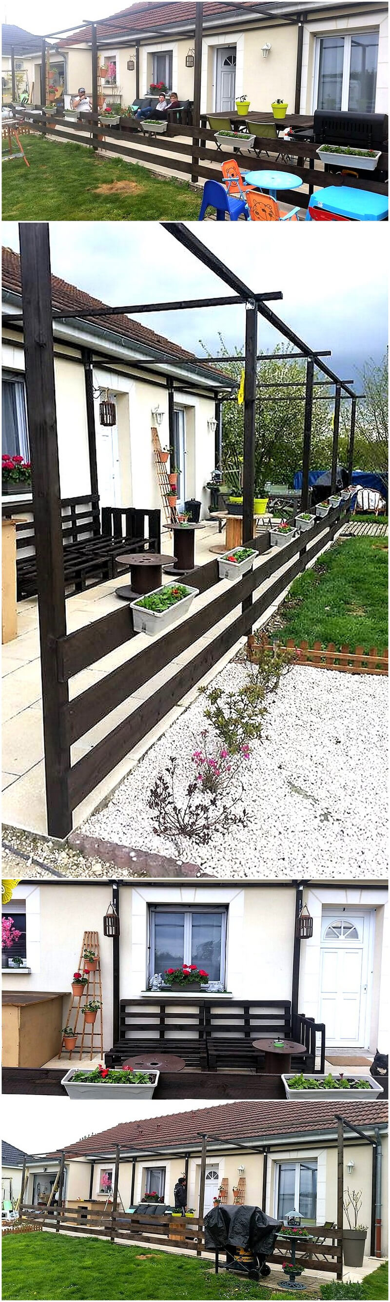 wood pallets pergola terrace