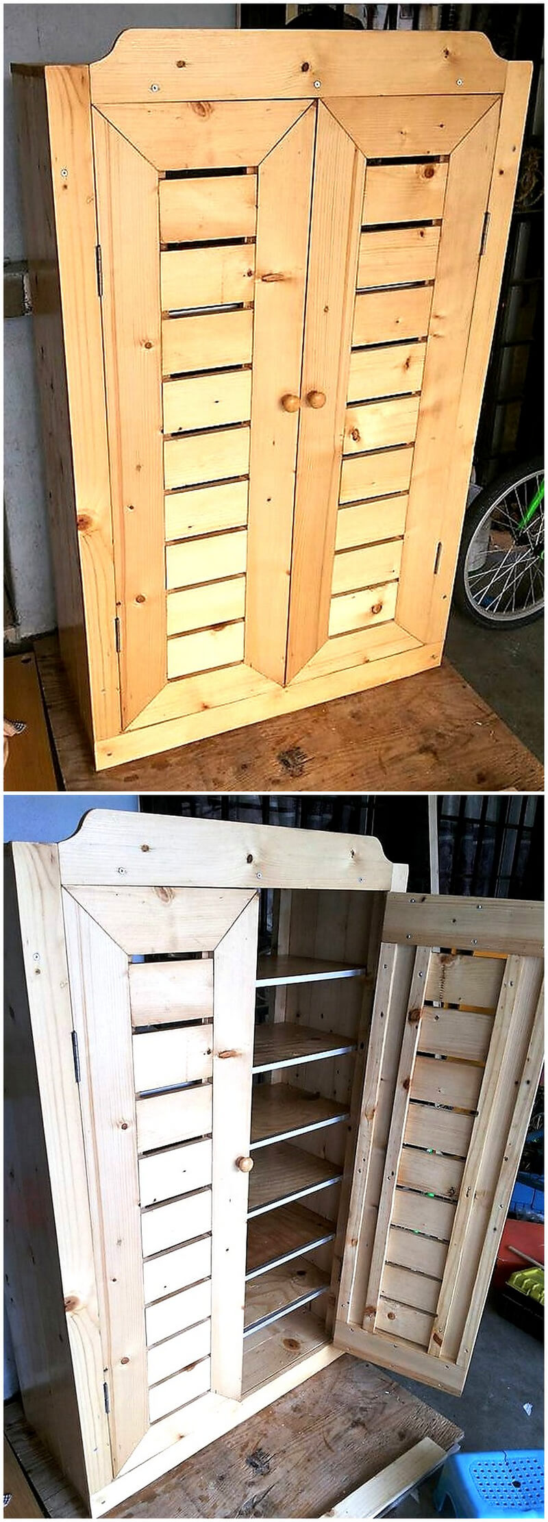 wood pallets storage rack cabinet
