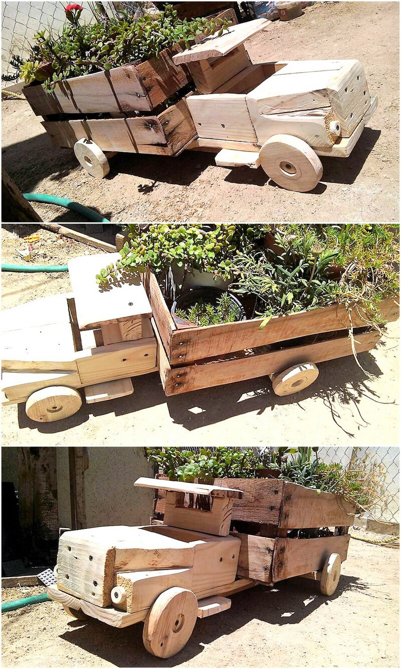 wood pallets toy truck planter