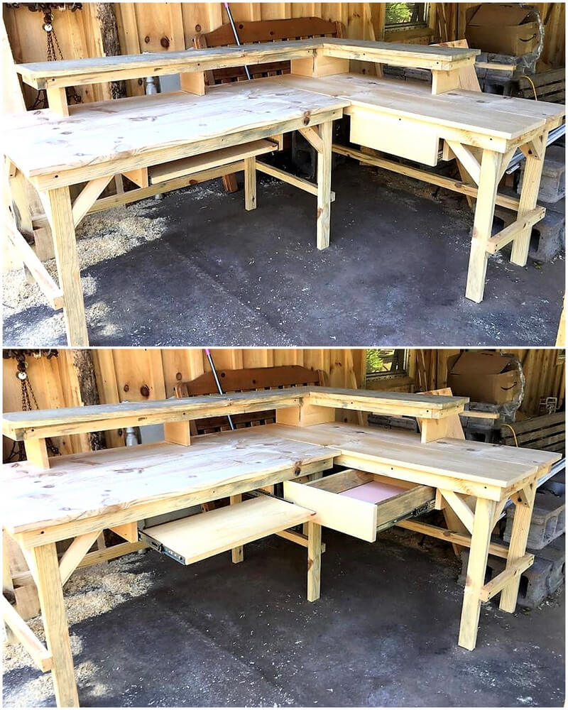 wooden pallet counter desk idea