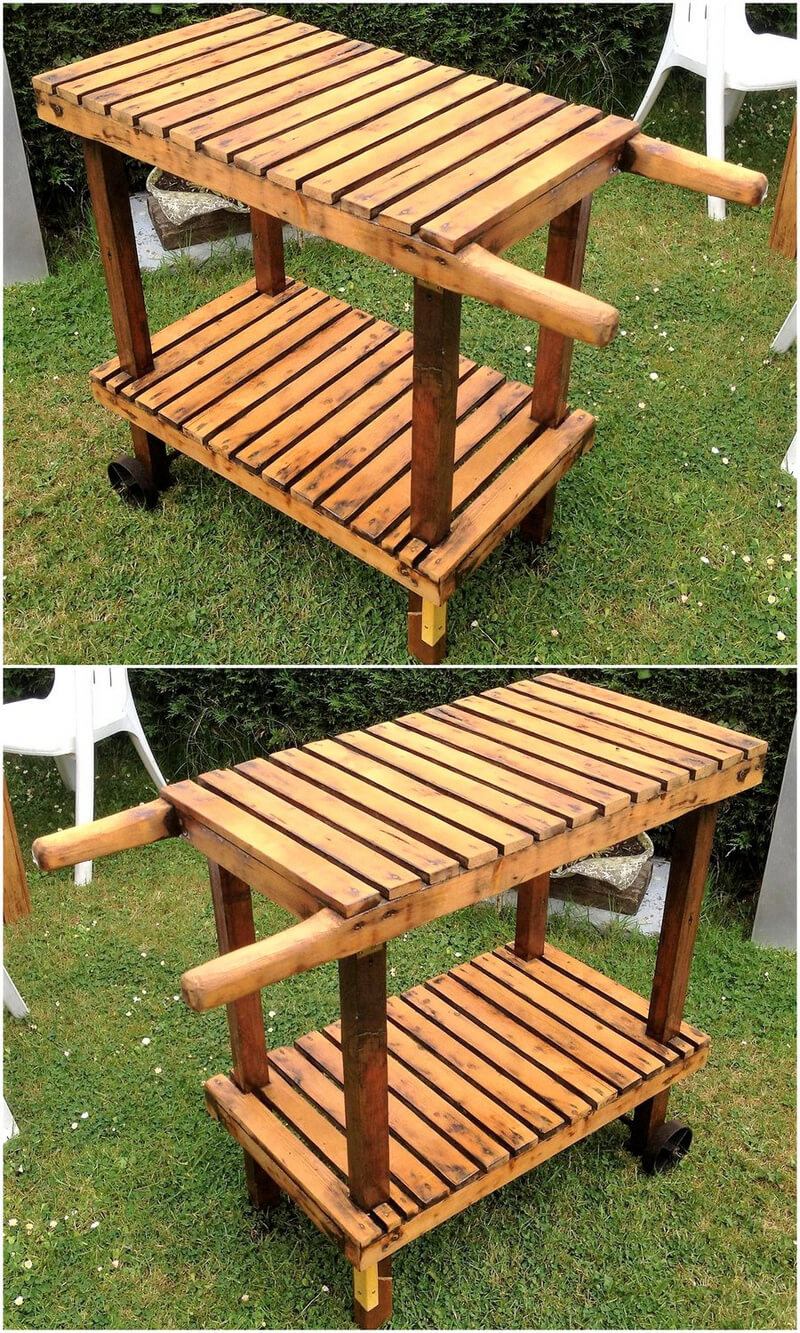 wooden pallet guest serving trolly