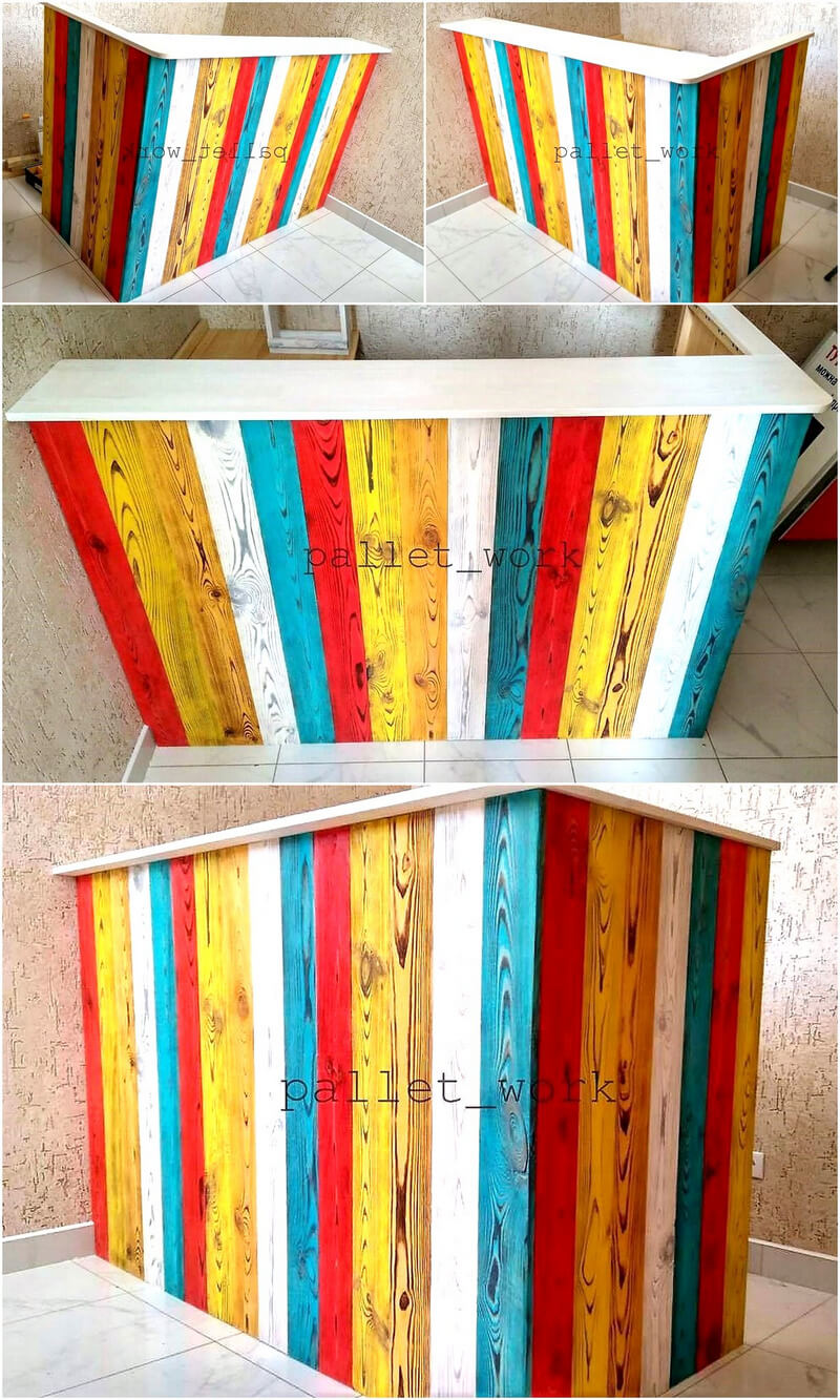 colorful wood pallet bar plan