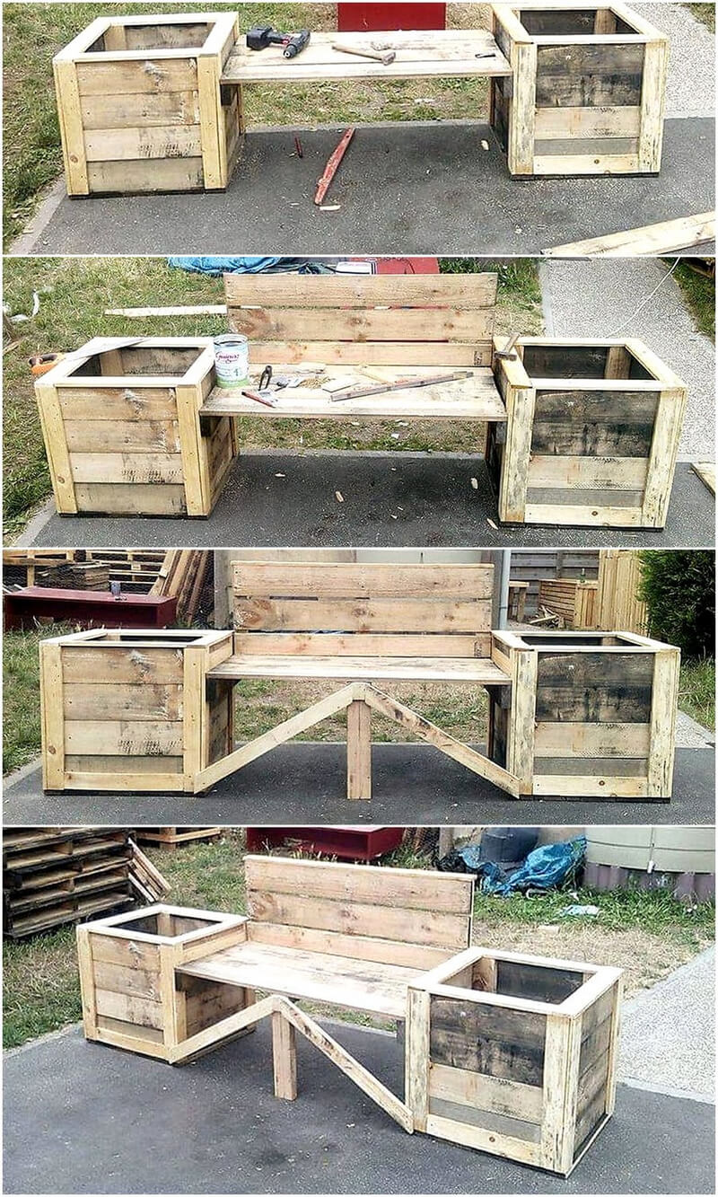 diy pallets bench with attached planters