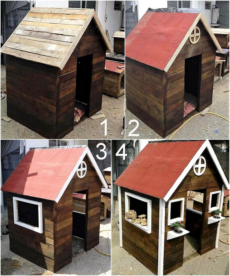 diy wooden pallet play cabin