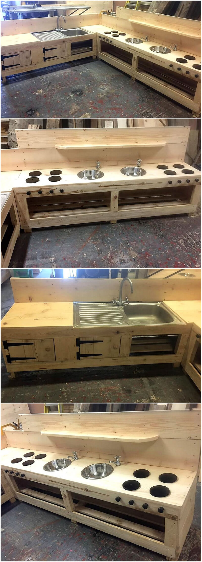 giant mud kitchen out of wooden pallets