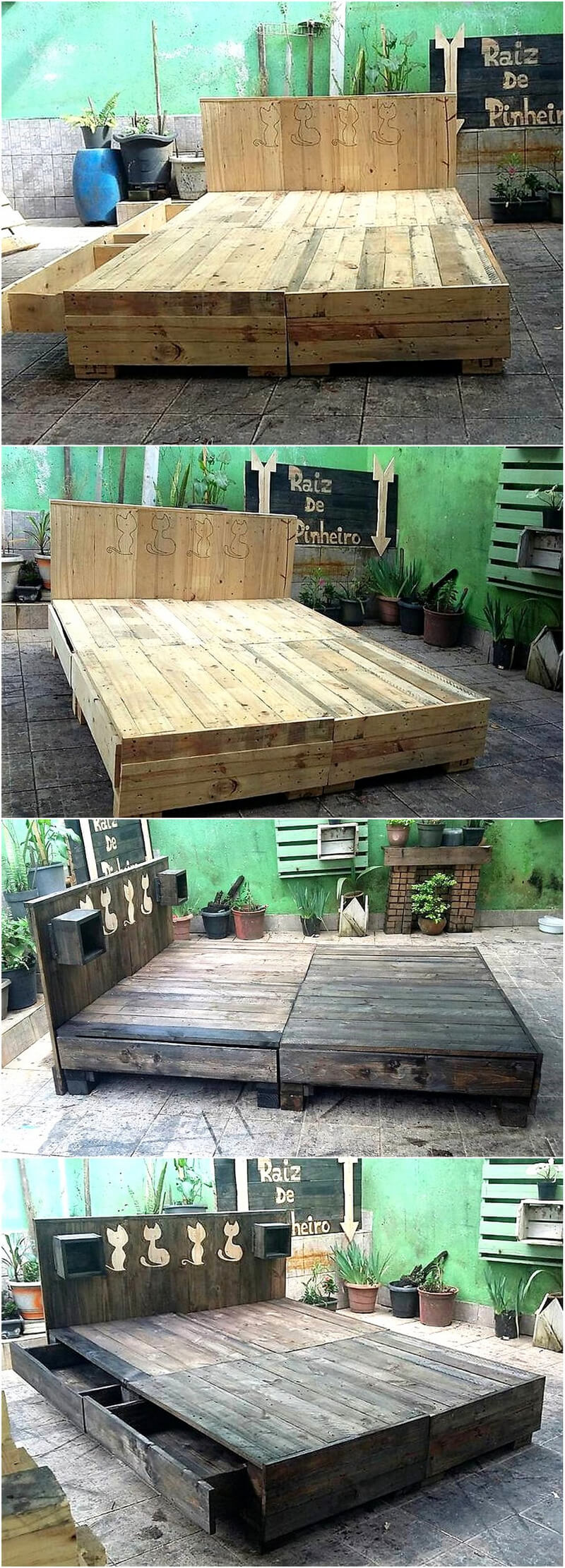 giant pallet wooden bed plan